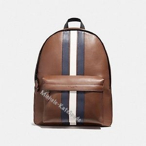 NWT COACH Charles In Varsity Leather Backpack